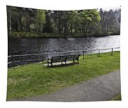 Bench On Shore Of River Ness In Inverness Tapestry