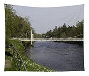 Benches And Suspension Bridge Over River Ness Tapestry