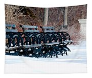 Benches In The Snow Tapestry