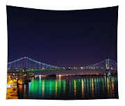 Benjamin Franklin Bridge At Night From Penn's Landing Tapestry