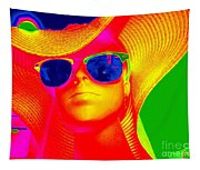 Betsy In Blue Sunglasses Tapestry