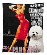 Bichon Frise Art - Una Parigina Movie Poster Tapestry