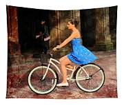 Bicycle Girl 1c Tapestry