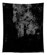 Big Ben Street Black And White Tapestry
