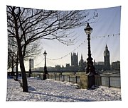 Big Ben Westminster Abbey And Houses Of Parliament In The Snow Tapestry