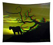 Big Cat Silhouette -  Use Red-cyan 3d Glasses Tapestry