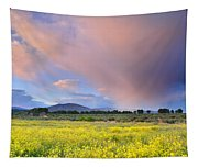 Big Storm And Tornado At Sunset Tapestry