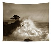 Big Wave Hitting The Lone Cypress Tree Pebble Beach California 1916 Tapestry