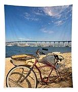 Bike And A Brdige Tapestry