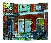 Bikes Balconies Brick Houses Flower Boxes Verdun Duplex Stairs Summer Scenes Carole Spandau Tapestry