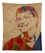 Bill Gates Microsoft Ceo Watercolor Portrait On Worn Distressed Canvas Tapestry by Design Turnpike