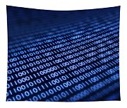 Binary Code On Pixellated Screen Tapestry
