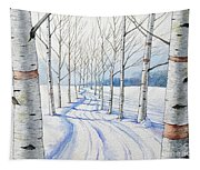 Birch Trees Along The Curvy Road Tapestry