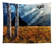 Birch Trees And Biplanes  Tapestry