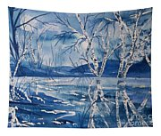 Birches In Blue Tapestry