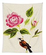 Bird On A Flower Tapestry
