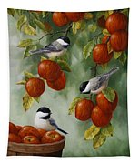 Bird Painting - Apple Harvest Chickadees Tapestry