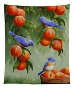 Bird Painting - Bluebirds And Peaches Tapestry
