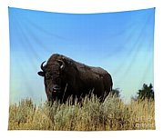 Bison Cow On An Overlook In Yellowstone National Park Tapestry