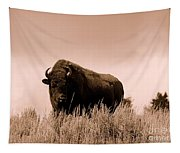 Bison Cow On An Overlook In Yellowstone National Park Sepia Tapestry