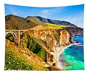 Bixby Creek Bridge Oil On Canvas Tapestry
