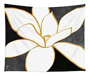 Black And Gold Magnolia- Floral Art Tapestry