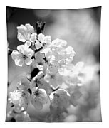 Black And White Blossoms Tapestry