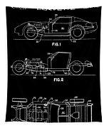 Black And White Corvette Patent Tapestry