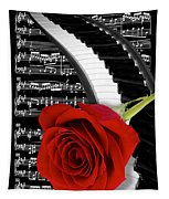 Black And White Music Collage Tapestry