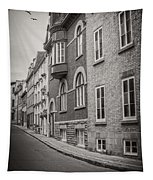 Black And White Old Style Photo Of Old Quebec City Tapestry