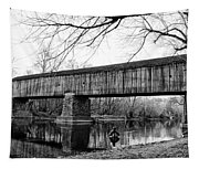 Black And White Schofield Ford Covered Bridge Tapestry