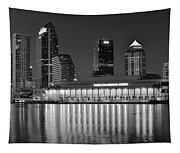 Black And White Tampa Night Tapestry