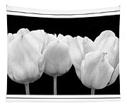 Black And White Tulip Triptych Tapestry