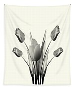 Black And White Tulips Drawing Tapestry
