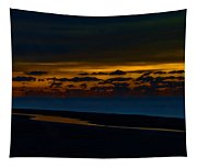 Black Beach With Orange Sky Tapestry