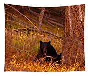 Black Bear Sticking Out Her Tongue  Tapestry