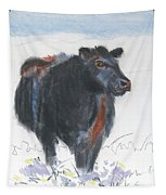 Black Cow Drawing Tapestry