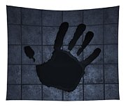 Black Hand Cyan Tapestry