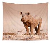 Black Rhinoceros Baby Tapestry