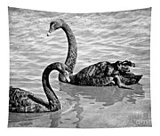 Black Swans - Black And White Textures Tapestry