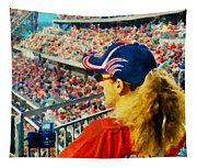 Blonde At The Ballgame Tapestry