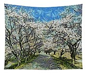 Blooming Cherry Tree Avenue Tapestry