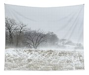 Blowing Snow Over Fields And Forest Tapestry