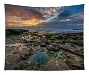 Blue And Gold Tidepools Tapestry