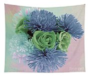 Blue And Green Flowers Tapestry