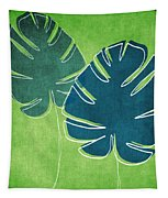 Blue And Green Palm Leaves Tapestry by Linda Woods