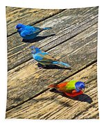 Blue And Indigo Buntings - Three Little Buntings Tapestry