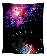 Blue And Red Firework Disks Tapestry