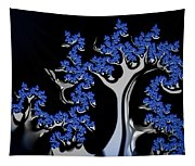 Blue And Silver Fractal Tree Abstract Artwork Tapestry