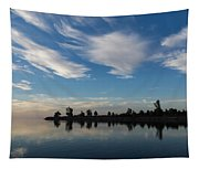 Brushstrokes On The Sky - Blue And White Serenity Tapestry